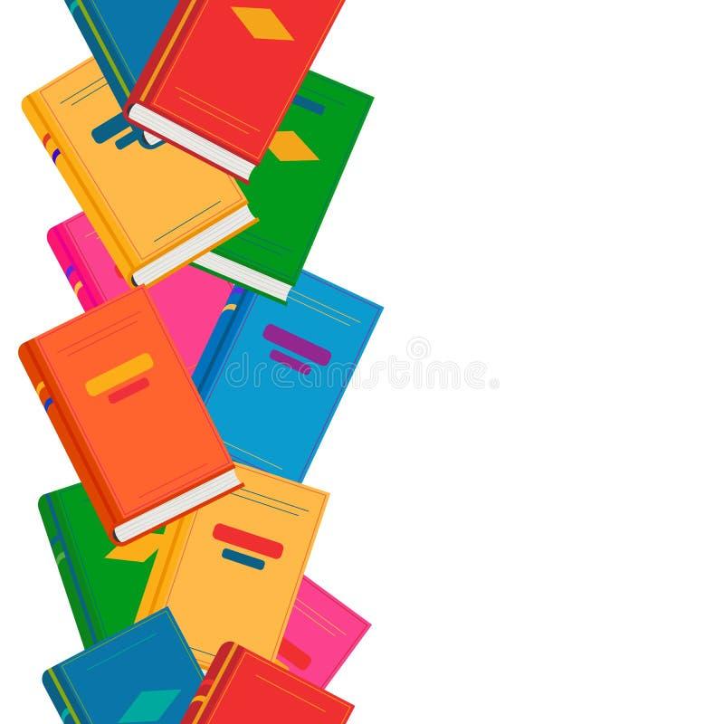 Wektorowa chaotyczna niekończący się pionowo granica z barwionymi książkami ilustracja wektor