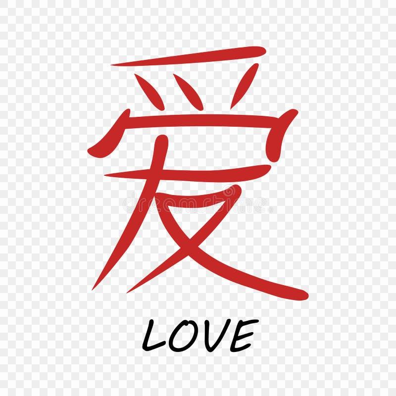 Wektorowa chińczyka listu kaligrafii hieroglifu miłość na odosobnionym przejrzystym tle twój projekta element royalty ilustracja