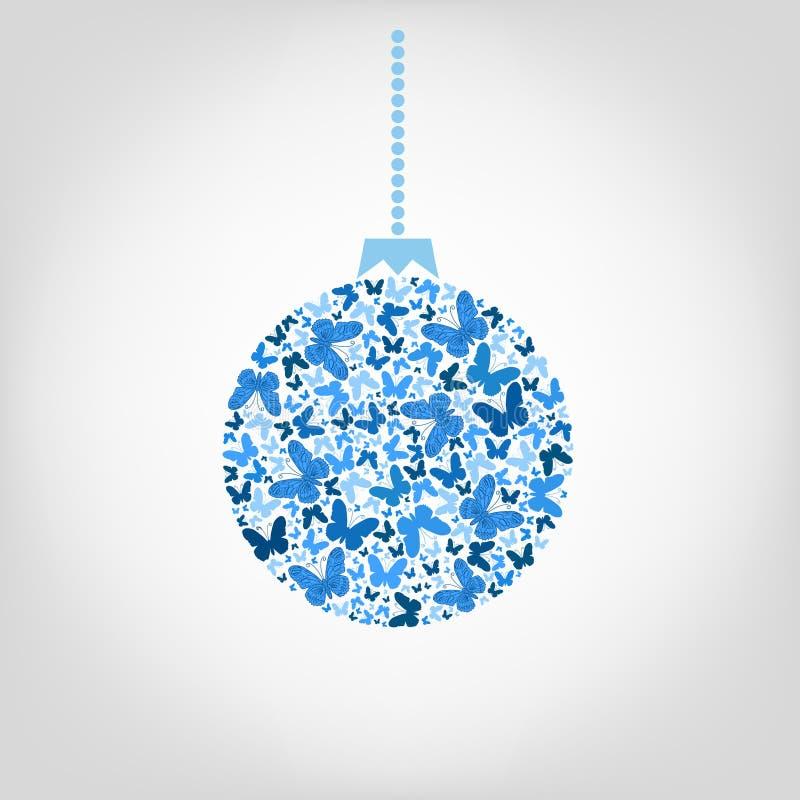 Wektorowa choinki piłka od błękitnego motyla Boże Narodzenia royalty ilustracja