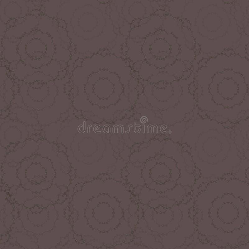Wektorowa ciemna czekolada - brown brown bezszwowy wzór z różyczek pieluch round linie i kędzioru dzienniczka tło ilustracji