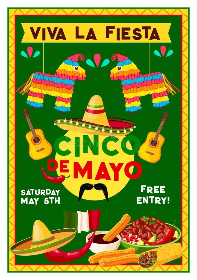 Wektorowa Cinco de Mayo wakacyjnego przyjęcia Meksykańska ulotka