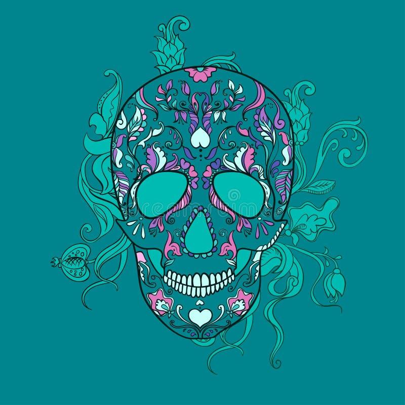 Wektorowa Cukrowa czaszka z ornamentem ilustracji