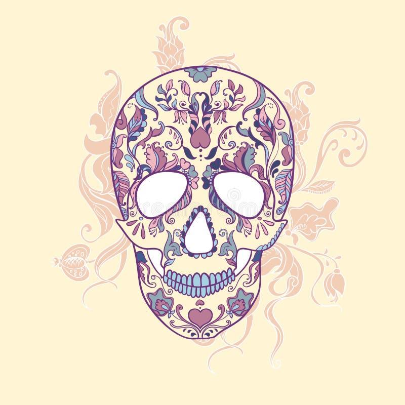 Wektorowa Cukrowa czaszka z ornamentem ilustracja wektor