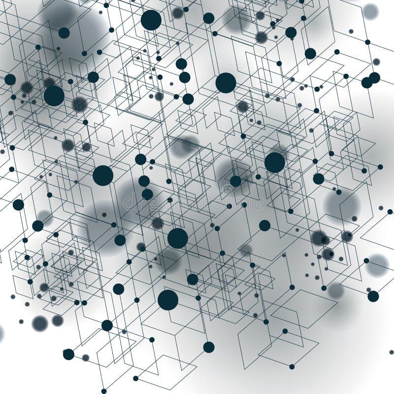 Wektorowa cyfrowa 3d abstrakcja, geometryczna poligonalna perspektywiczna siatki ilustracja royalty ilustracja