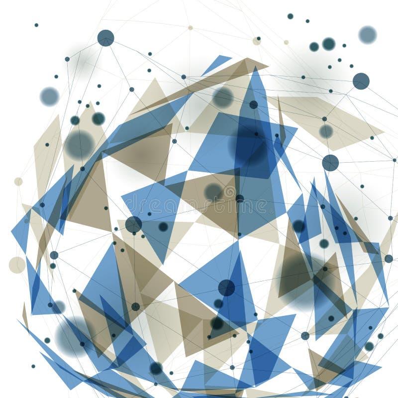Wektorowa cyfrowa 3d abstrakcja, geometryczna poligonalna perspektywiczna siatki ilustracja ilustracji