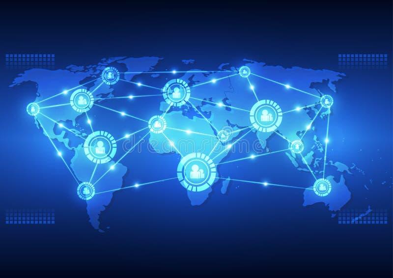 Wektorowa cyfrowa globalna technologia komunikacyjna, abstrakcjonistyczny tło royalty ilustracja