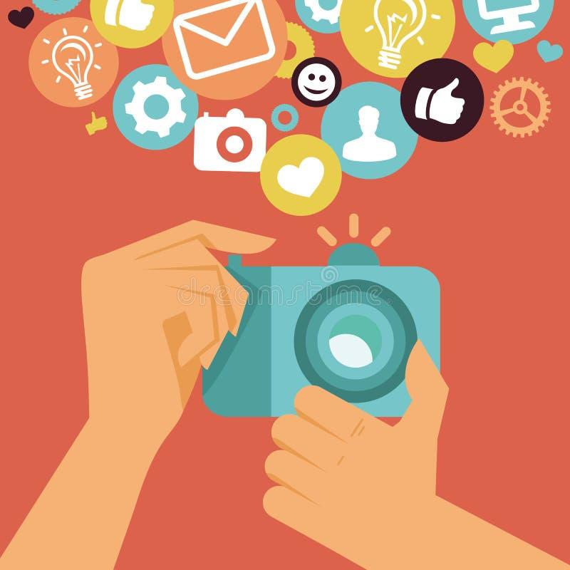 Wektorowa cyfrowa kamera w płaskim retro stylu ilustracji