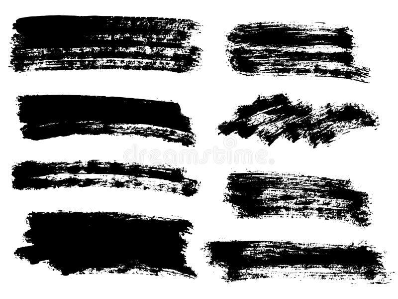 Wektorowa czarna farba, atramentu muśnięcia uderzenie, muśnięcie, linia lub tekstura, Di royalty ilustracja