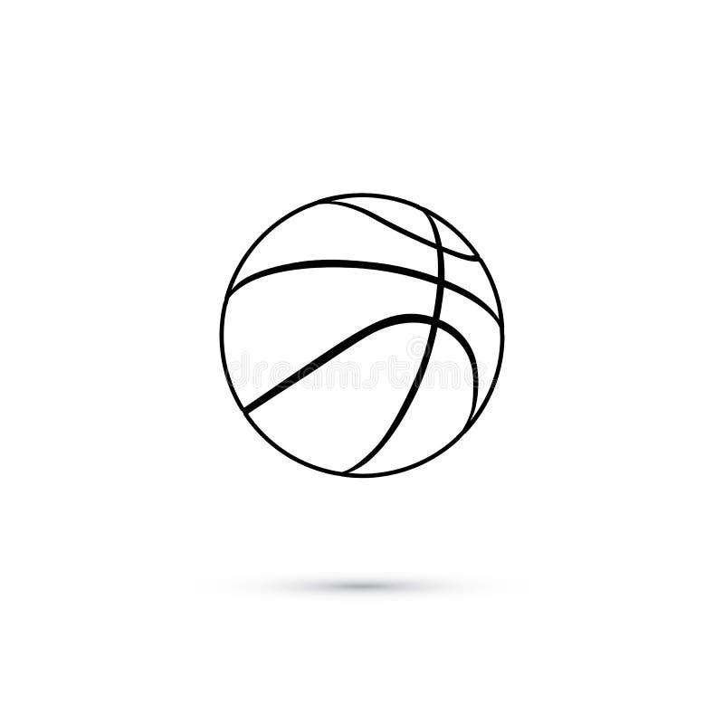 Wektorowa czarna koszykówki piłki linii ikona odizolowywająca na białym tle ilustracja wektor