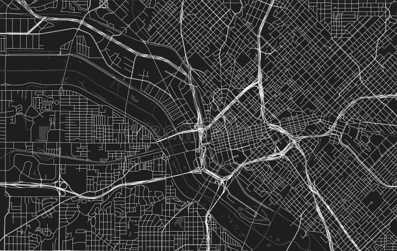 Wektorowa czarna mapa Dallas royalty ilustracja
