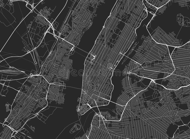 Wektorowa czarna mapa Nowy York royalty ilustracja