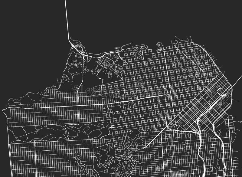 Wektorowa czarna mapa San Fransisco royalty ilustracja