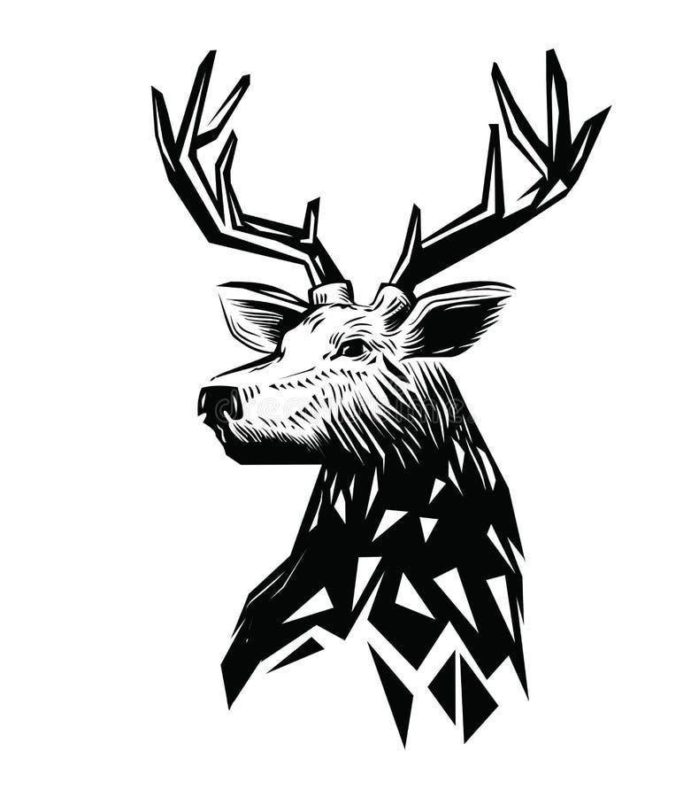 Wektorowa czarna rogacz głowa royalty ilustracja