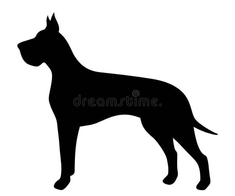 Wektorowa czarna sylwetka Great Dane pies royalty ilustracja