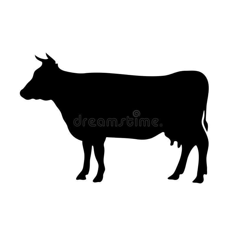 Wektorowa czarna sylwetka krowa obrazy stock