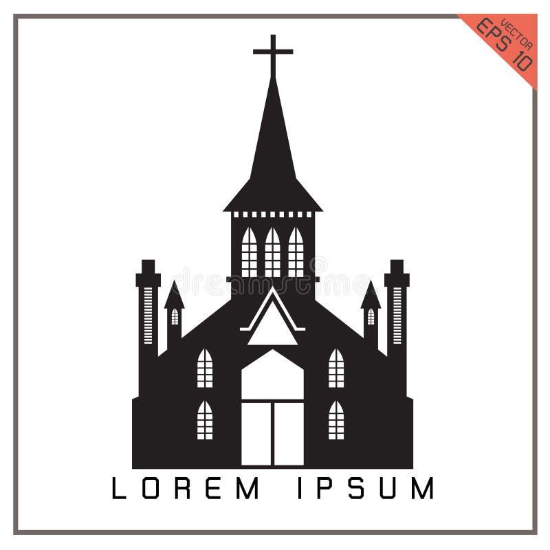 Wektorowa czarnego kościół ustalona ikona na białym tle ilustracja wektor