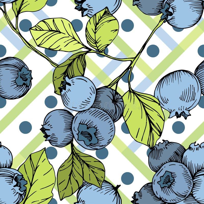 Wektorowa czarnej jagody zieleń, błękit i grawerowaliśmy atrament sztukę Jagody i zieleń liście Bezszwowy tło wzór ilustracji