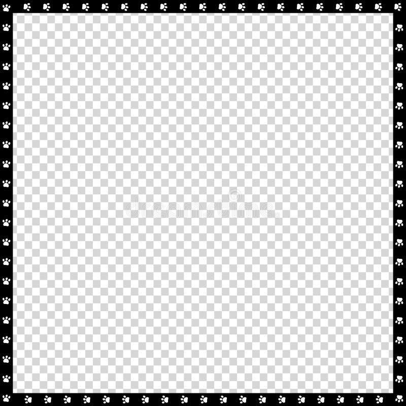 Wektorowa czarny i biały kwadrat granica robić zwierzęcy łapa druk odizolowywający ilustracji