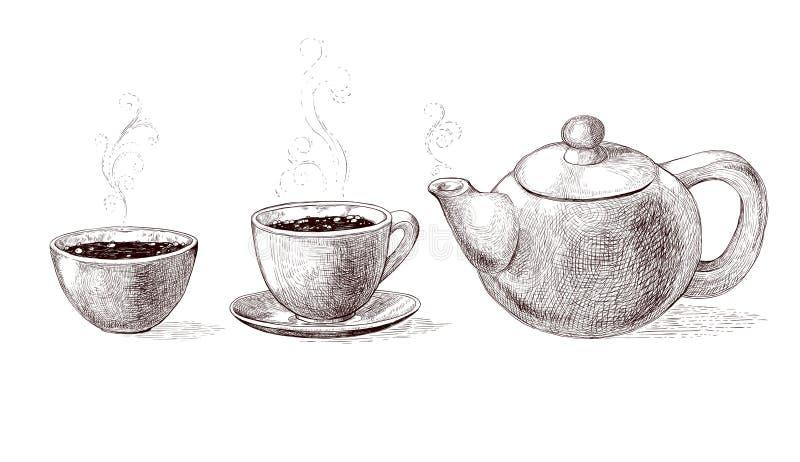 Wektorowa czarny i biały nakreślenie ilustracja świeża warząca ranek kawa, herbata od teapot w filiżance gorąca i sosowana i ilustracja wektor