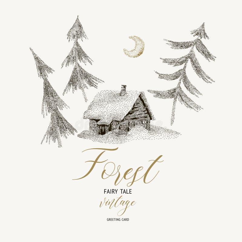 Wektorowa czarny i biały zimy karta z domem zakrywał śnieg ilustracja wektor