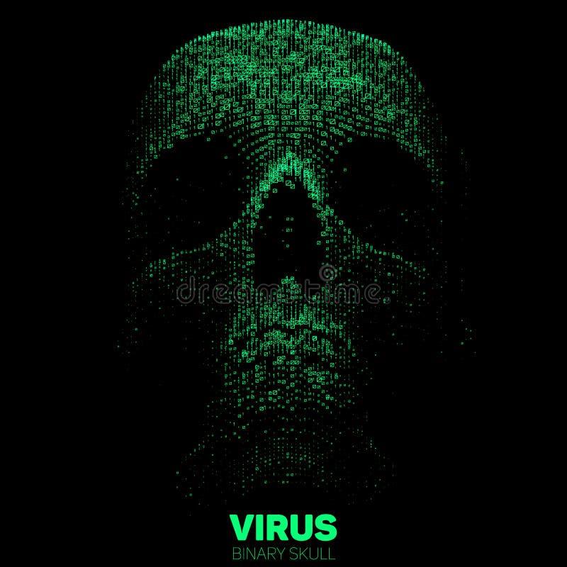 Wektorowa czaszka budująca z zielonym binarnym kodem Internetowa ochrony pojęcia ilustracja Wirusa lub malware abstrakt royalty ilustracja