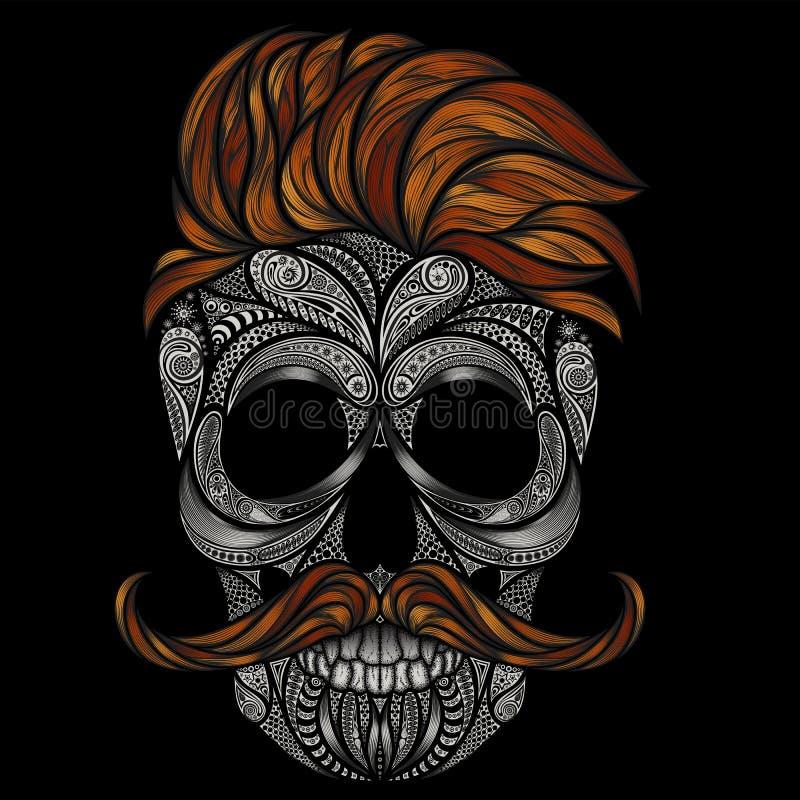 Wektorowa czaszka modniś Abstrakcjonistyczna sylwetka ludzka czaszka royalty ilustracja