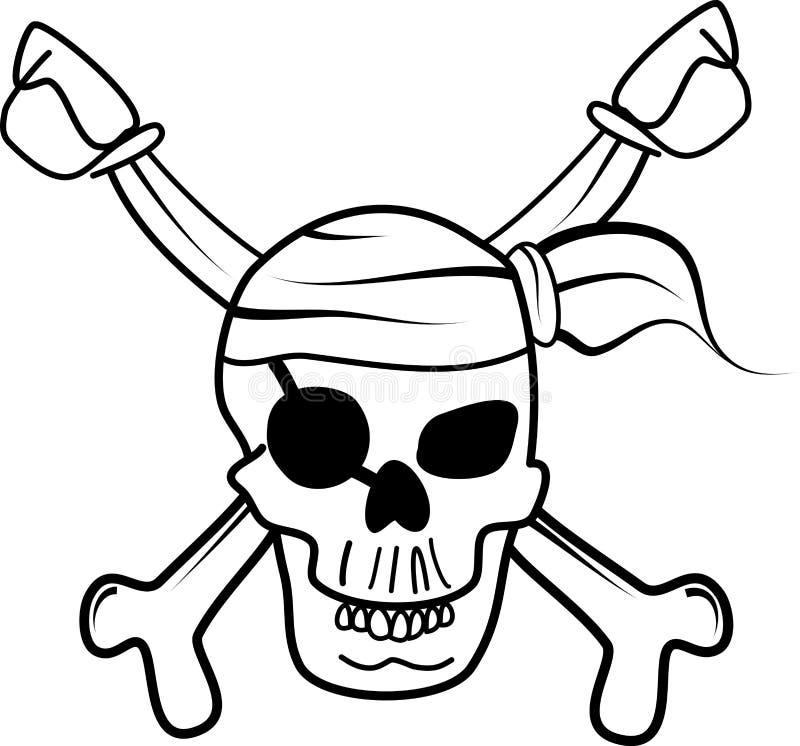 Wektorowa czaszka pirata głowa ilustracja wektor