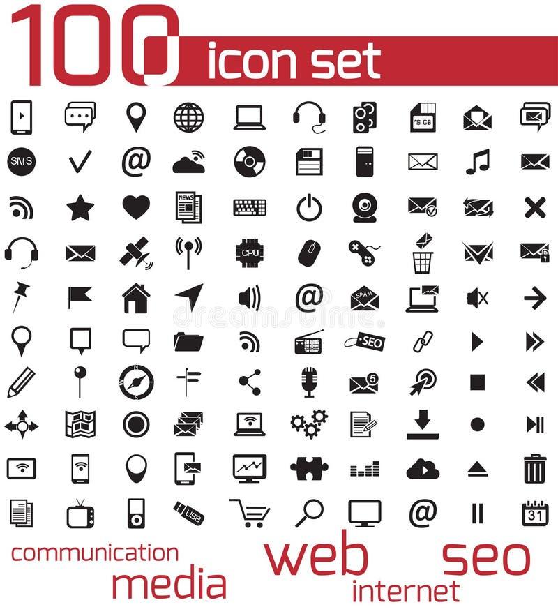Wektorowa czerni 100 sieć i środek ikony ilustracja wektor