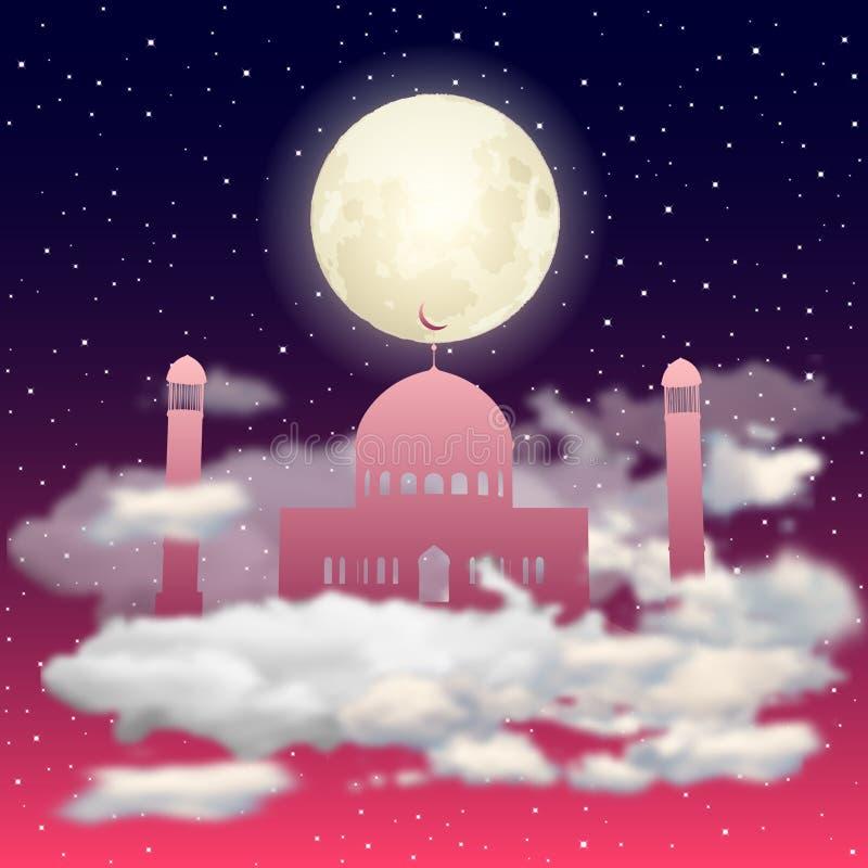 Wektorowa czerwona Meczetowa sylwetka w nocnym niebie z księżyc w pełni i gwiazd chmurami ilustracja wektor