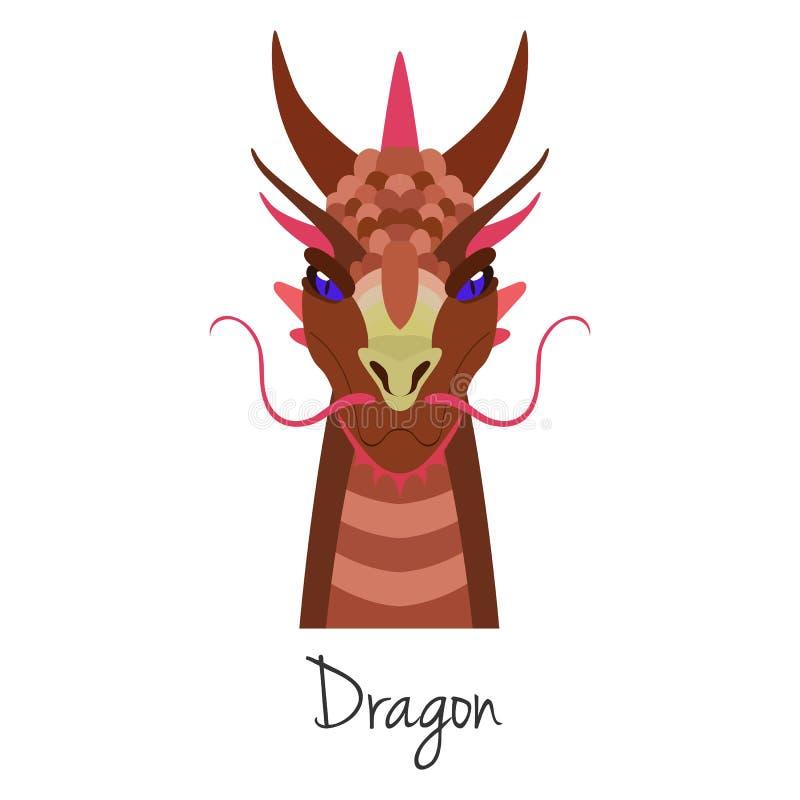 Wektorowa czerwona smok twarz odizolowywająca Zwierzę Chiński zodiaka symbol ilustracja wektor