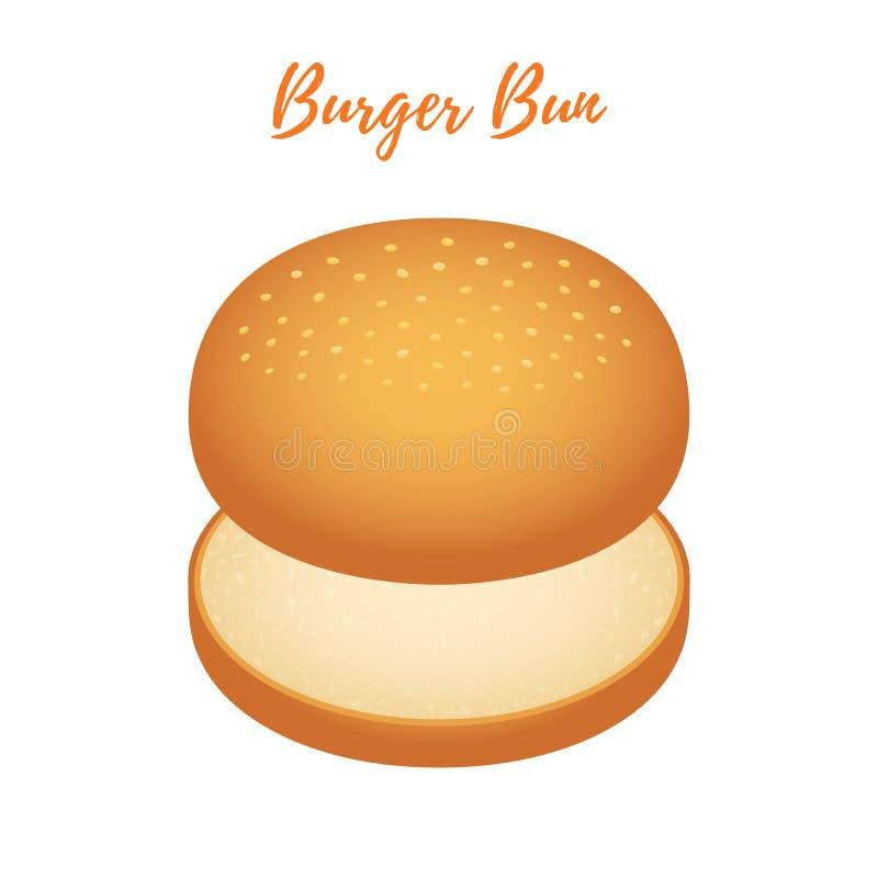 Wektorowa 3d hamburgeru babeczka Hamburgeru chleb, piekarnia produkt, cheeseburger z sezamem ilustracji