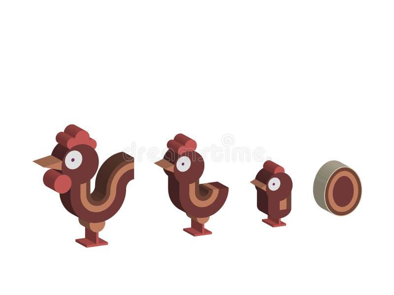 Wektorowa 3d ilustracja kurczak rodzina kogut, kurczak, kurczak i jajko -, - ilustracji