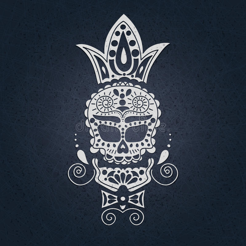 Wektorowa dekoracyjna czaszka Dzień nieboszczyk w Meksyk Czaszka na ciemnym tle dla Halloween Tradycyjny, religijny ilustracja wektor