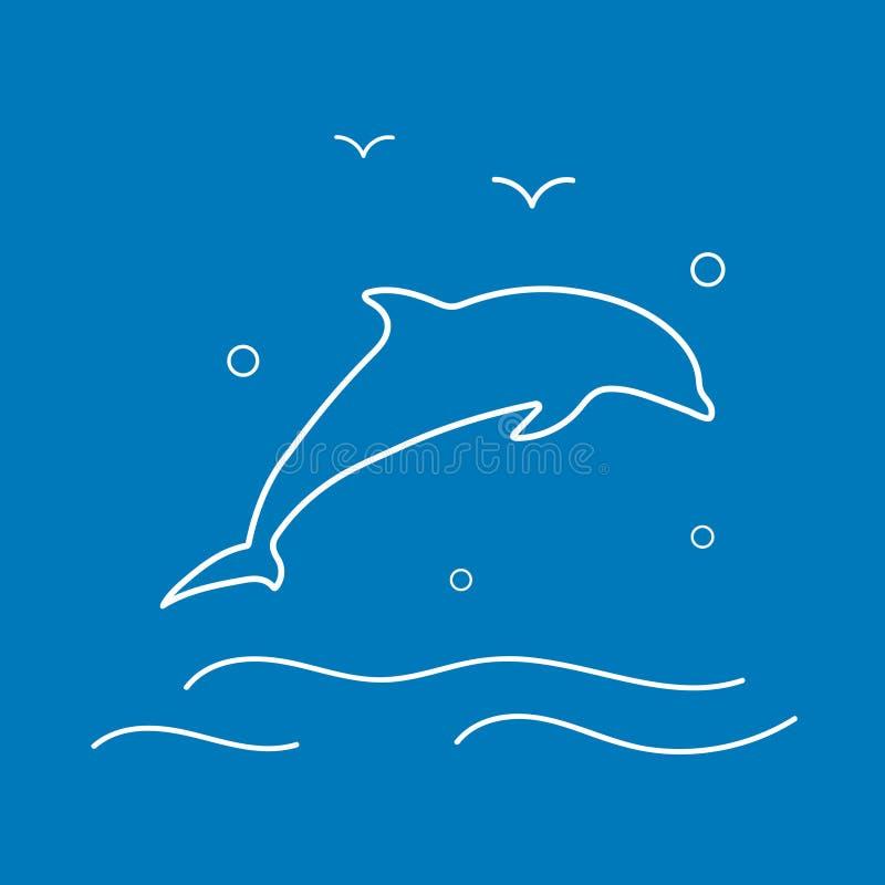 Wektorowa delfin linii ikona ilustracji