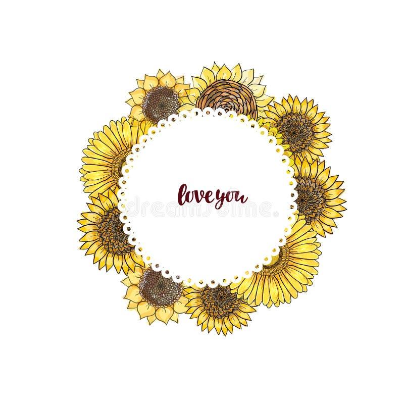 Wektorowa delikatna kartka z pozdrowieniami z słonecznikiem i gerbera kwitniemy dla poślubiać, małżeństwo urodzinowy, bridal, wal royalty ilustracja