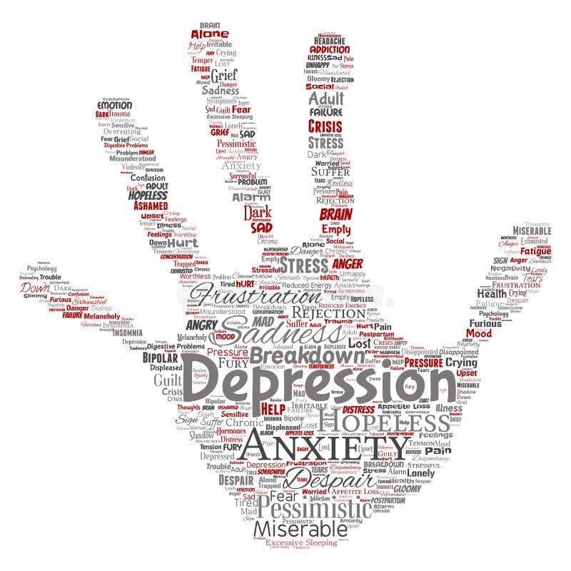 Wektorowa depresja lub umysłowa emocjonalnego nieładu ręki druku znaczka słowa problemowa chmura odizolowywaliśmy tło Kolaż anxi royalty ilustracja
