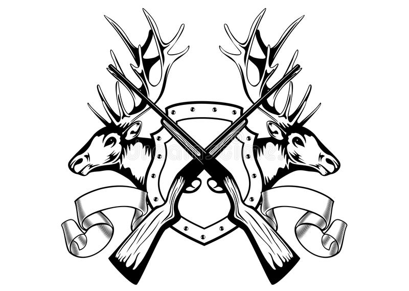 Łoś głowy i krzyżujący karabin royalty ilustracja