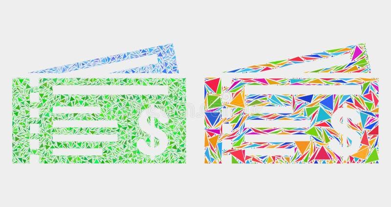 Wektorowa Dolarowa kratki mozaiki ikona trójboki ilustracji