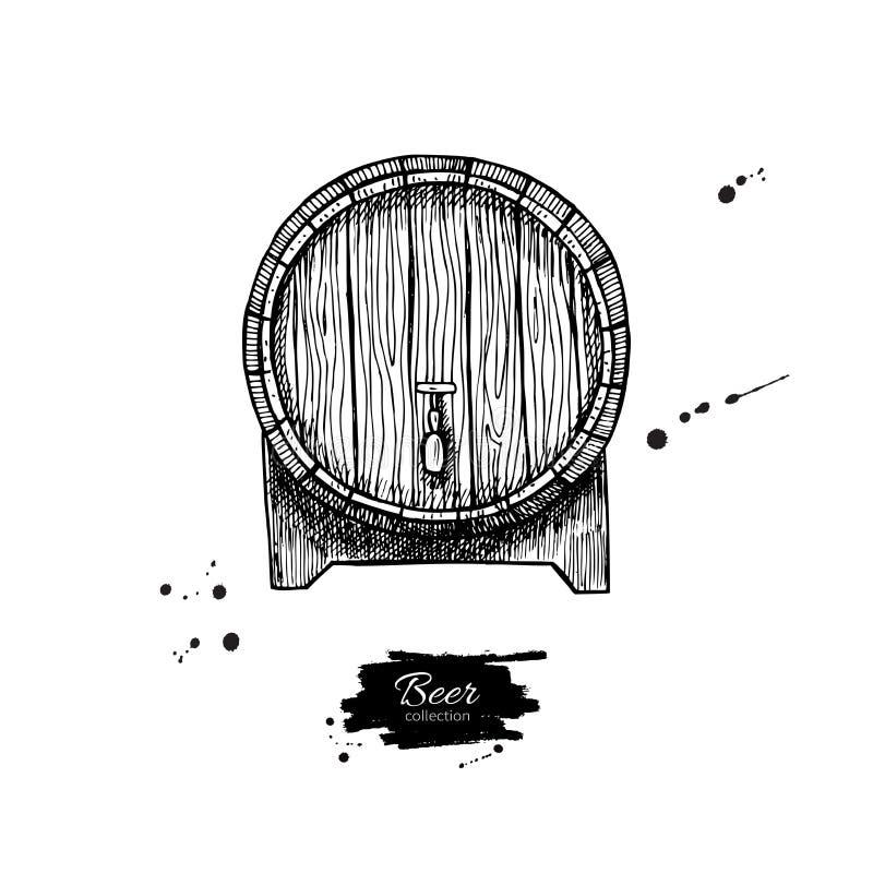 Wektorowa drewniana baryłka Ręka rysująca rocznik ilustracja w engrav royalty ilustracja