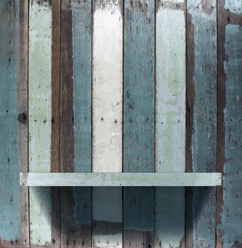 Wektorowa drewniana książkowa półka ilustracja wektor