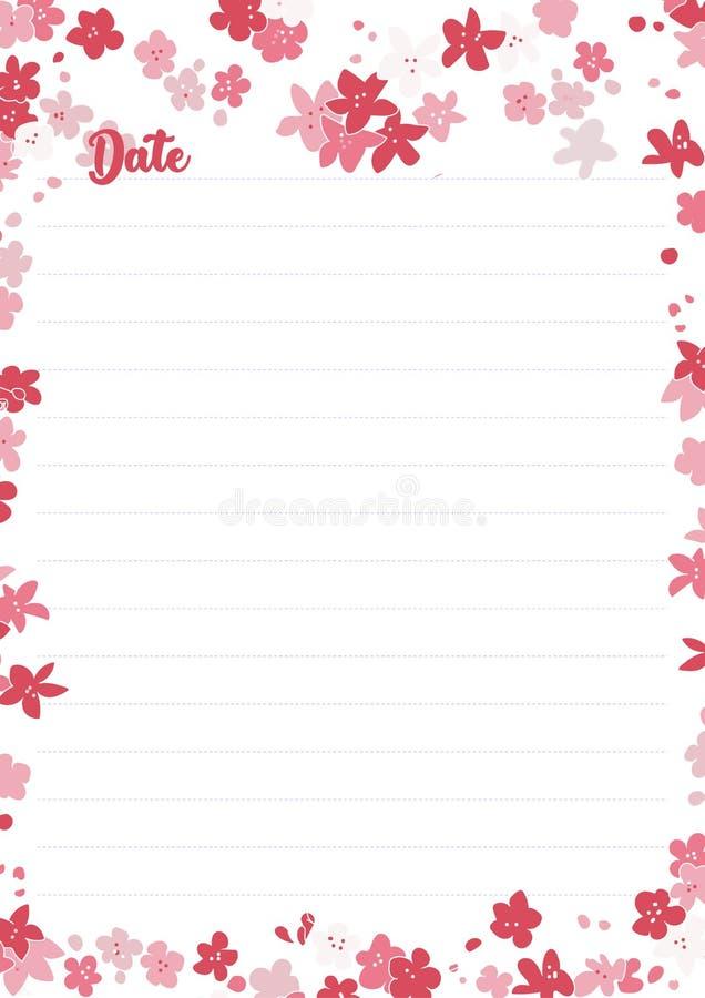 Wektorowa drukowego papieru notatka, optymalny A4 rozmiar Kawaii papier dla notatnika, dzienniczek, planiści, listy, notatki ilustracji