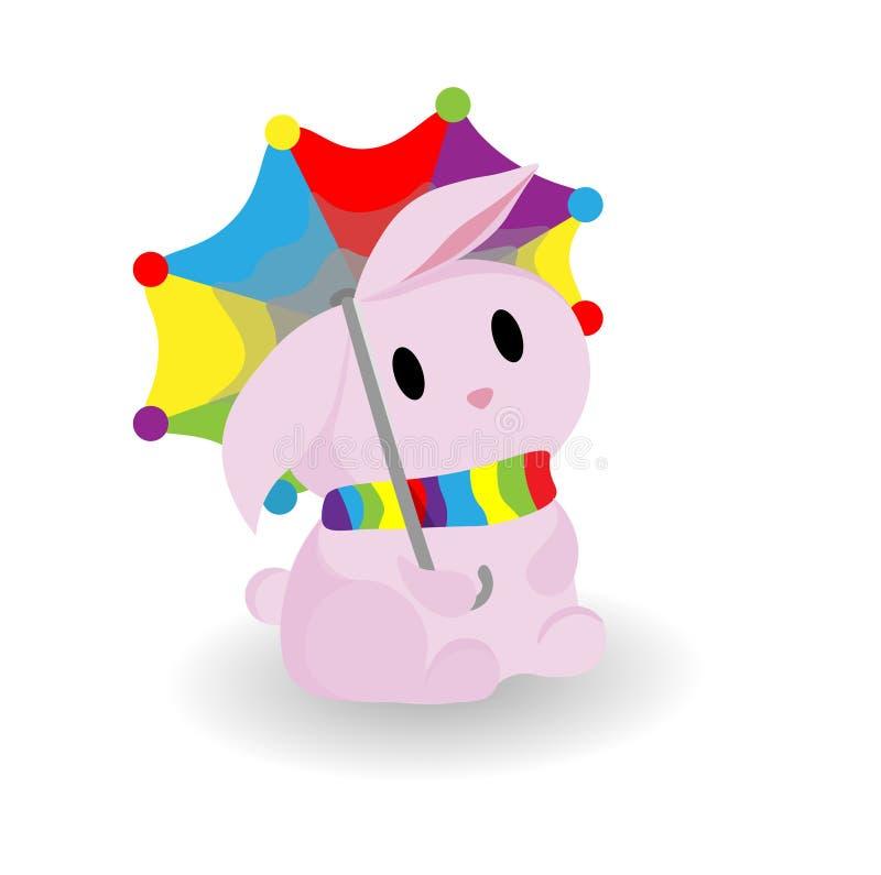 Wektorowa dziecięca ilustracja królik pod parasolem Podczas deszczu Różowy śliczny królik Jaskrawy parasol ilustracji
