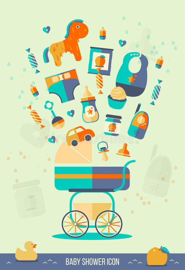 Wektorowa dziecko prysznic ilustracja Zaproszenie szablon, partyjny temat, sieć karciany projekt ustawić symbole Mieszkanie styl ilustracja wektor
