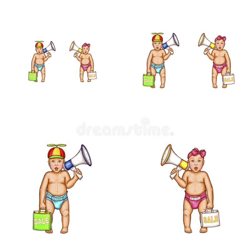 Wektorowa dziewczynka, chłopiec, megafonu avatar ikony ilustracja wektor
