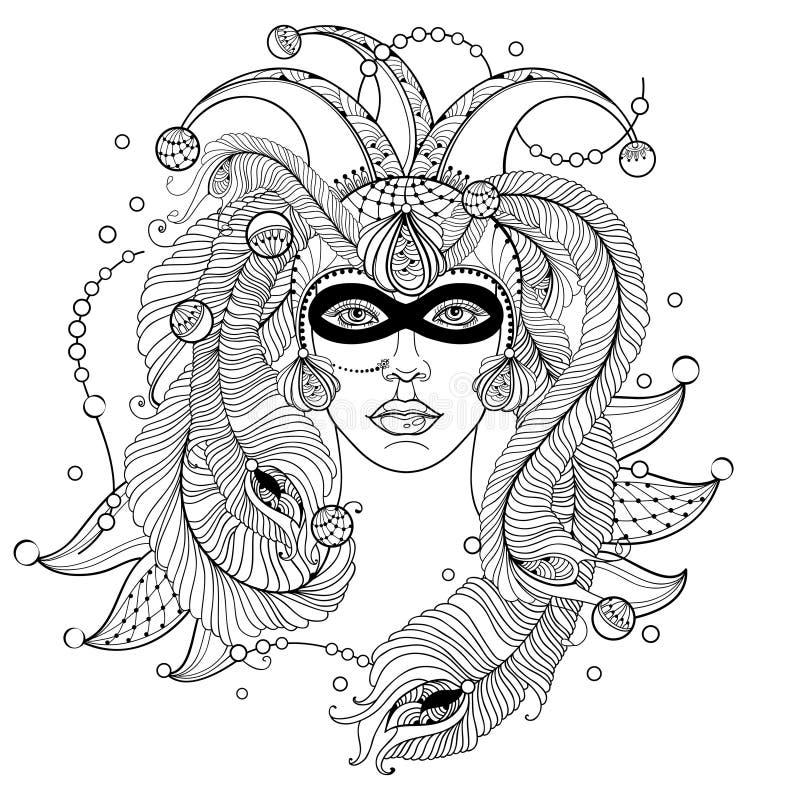 Wektorowa dziewczyny twarz w konturu błazenu nakrętce, masce, pawich piórkach, ozdobnym kołnierzu i koralikach w czerni odizolowy ilustracja wektor
