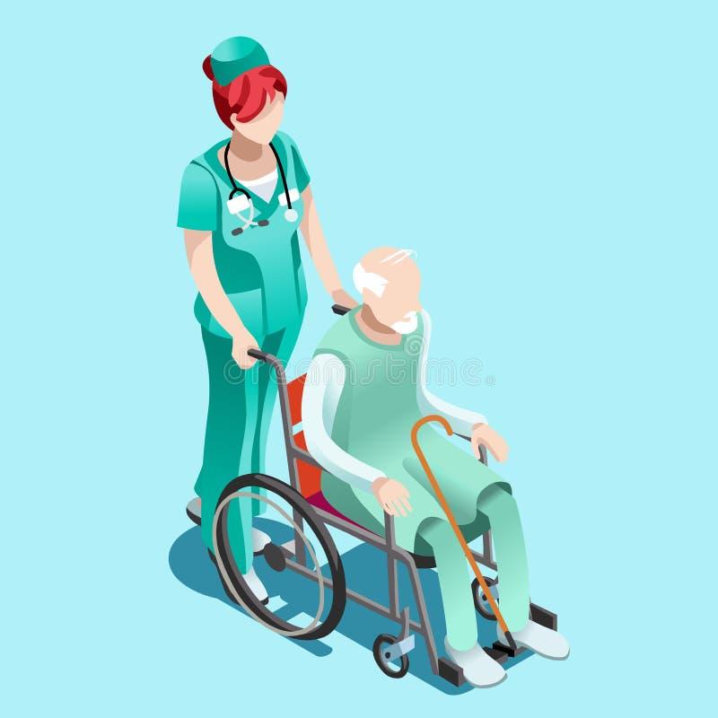 Wektorowa Żeńska pielęgniarka i pacjent w wózków inwalidzkich Isometric ludziach ilustracja wektor