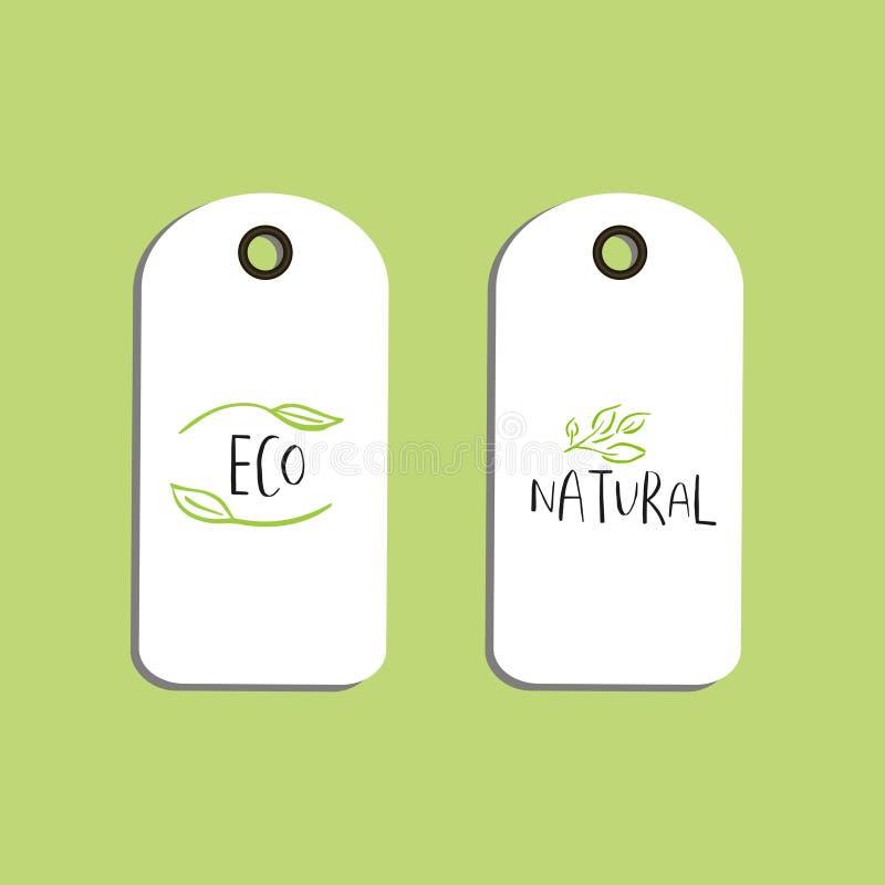 Wektorowa eco odznaka lub etykietka, życiorys zielony logo ilustracja wektor
