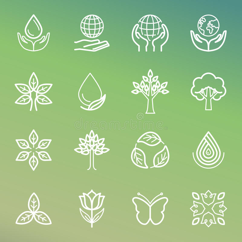 Wektorowa ekologia i organicznie ikony ilustracji