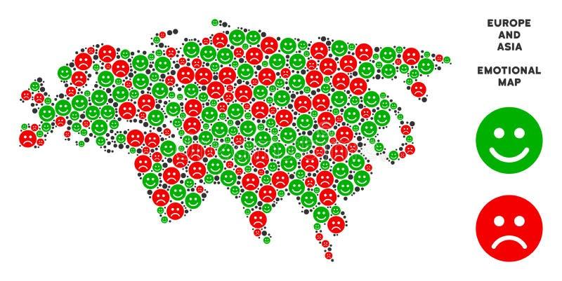 Wektorowa emocja Europa I Azja mapy skład Emojis royalty ilustracja