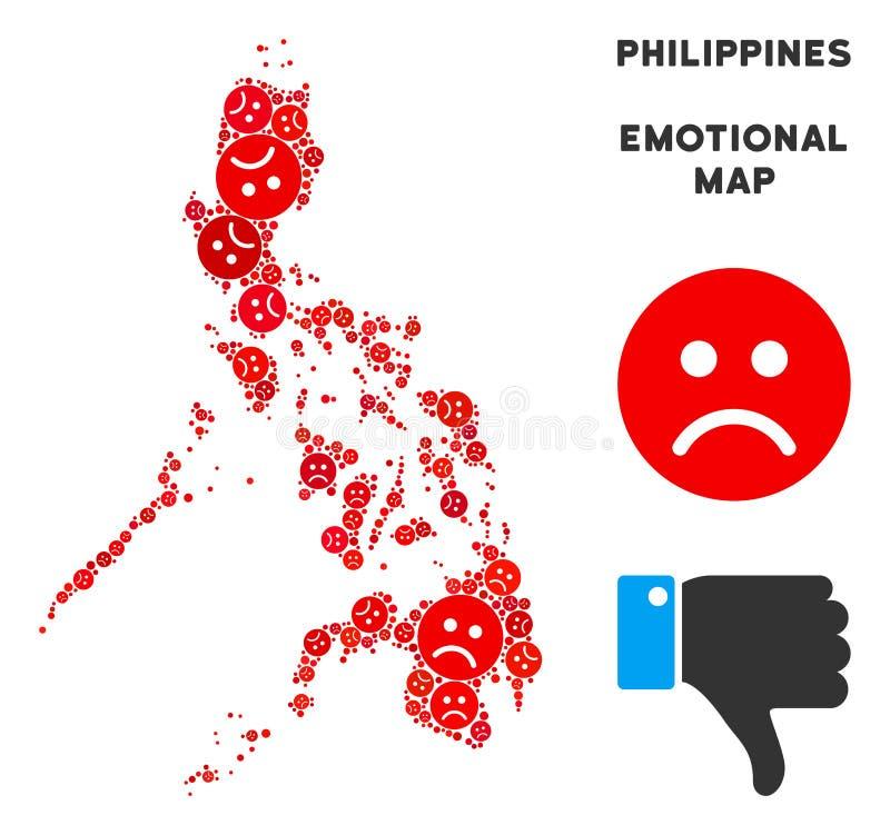 Wektorowa Emocjonalna Filipińska mapy mozaika Smutny Emojis ilustracji